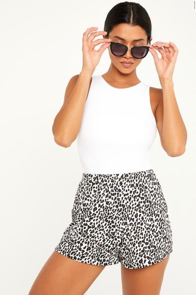 Leopard Print High Waist Shorts